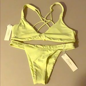NWT B SWIM s bottom d cup top (lemon drop color)